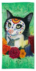 Beach Towel featuring the painting Day Of The Dead Cat Candles - Sugar Skull Cat by Carrie Hawks