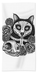 Beach Towel featuring the drawing Day Of The Dead Cat Skull - Sugar Skull Cat by Carrie Hawks