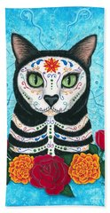 Day Of The Dead Cat - Sugar Skull Cat Beach Towel