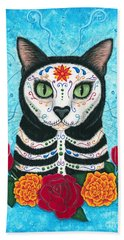 Beach Towel featuring the painting Day Of The Dead Cat - Sugar Skull Cat by Carrie Hawks