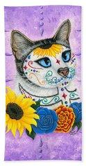 Day Of The Dead Cat Sunflowers - Sugar Skull Cat Beach Towel