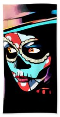 Day Of The Dead Skull Woman Wearing Top Hat Beach Towel