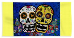 Beach Towel featuring the painting Day Of The Dead Sugar by Pristine Cartera Turkus