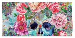 Day Of The Dead Watercolor Beach Towel