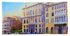 Beach Towel featuring the painting Daybreak At Venice by Shelia Kempf