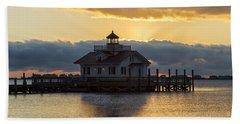 Daybreak Over Roanoke Marshes Lighthouse Beach Towel