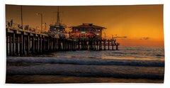 Daylight Turns Golden On The Pier Beach Towel
