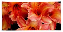 Daylilies 1 Beach Sheet by Rose Santuci-Sofranko
