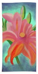 Beach Towel featuring the painting Daylily At Dusk by Margaret Harmon