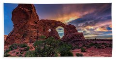 Day's End At Turret Arch Beach Towel
