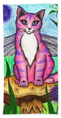 Beach Towel featuring the painting Dea Dragonfly Fairy Cat by Carrie Hawks