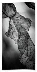 Fragile Leaf Bw Beach Towel