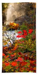 Dead River Falls Foreground Plus Mist 2509 Beach Towel by Michael Bessler