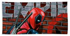 Deadpool Painting Beach Towel by Paul Meijering