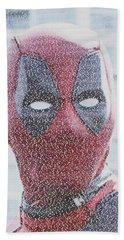 Deadpool Quotes Mosaic Beach Towel by Paul Van Scott
