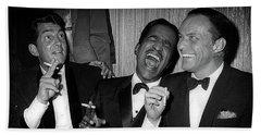 Dean Martin, Sammy Davis Jr. And Frank Sinatra Laughing Beach Towel