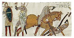 Death Of Harold, Bayeux Tapestry Beach Sheet