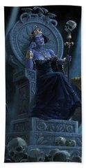 Death Queen On Throne With Skulls Beach Sheet