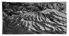Death Valley Erosion B W Beach Towel