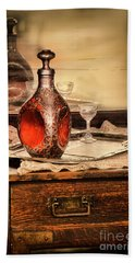 Decanter And Glass Beach Towel by Jill Battaglia
