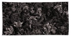 Decayed Autumn Leaves On The Ground Copper Tone Beach Towel