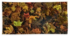 Decayed Autumn Leaves On The Ground Beach Towel
