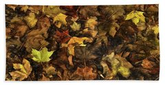 Decayed Autumn Leaves On The Ground Strong Stroke Beach Towel