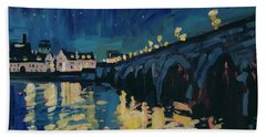 December Lights At The Old Bridge Beach Towel by Nop Briex