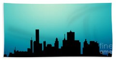 Beach Towel featuring the painting Decorative Abstract Skyline Houston R1115a by Mas Art Studio