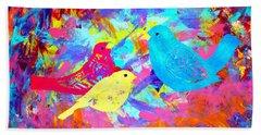 Beach Towel featuring the painting Decorative Birds D132016 by Mas Art Studio