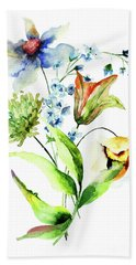 Decorative Flowers Beach Towel