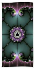 Beach Sheet featuring the digital art Decorative Fractal Art Purple And Green by Matthias Hauser