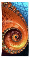 Beach Towel featuring the digital art Decorative Fractal Spiral Orange Coral Blue by Matthias Hauser