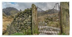 Beach Towel featuring the photograph Decorative Gate Snowdonia by Adrian Evans
