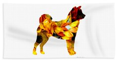 Beach Towel featuring the painting Decorative Husky Abstract O1015g by Mas Art Studio