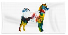 Beach Towel featuring the painting Decorative Husky Abstract O1015m by Mas Art Studio