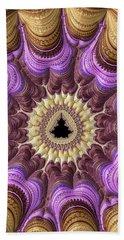 Decorative Luxe Mandelbrot Fractal Purple Gold Beach Towel by Matthias Hauser