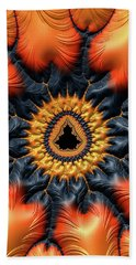 Beach Sheet featuring the digital art Decorative Mandelbrot Set Warm Tones by Matthias Hauser