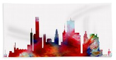 Beach Towel featuring the painting Decorative Skyline Abstract  Houston T1115d by Mas Art Studio