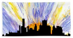 Beach Towel featuring the painting Decorative Skyline Abstract  Houston T1115v1 by Mas Art Studio