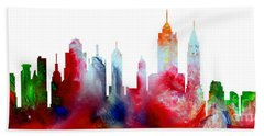 Beach Towel featuring the painting Decorative Skyline Abstract New York P1015c by Mas Art Studio