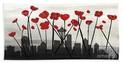 Beach Towel featuring the painting Decorative Skyline Abstract  Seattle T1115x1 by Mas Art Studio