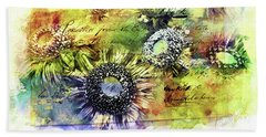 Beach Towel featuring the painting Decorative Sunflowers Mixed Media A772016  by Mas Art Studio