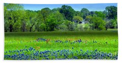 Beach Towel featuring the mixed media Decorative Texas Homestead Bluebonnets Meadow Mixed Media Photo H32517 by Mas Art Studio