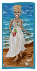 Dee With Her Bloody Mary Beach Towel by Leandria Goodman