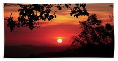 Deep Orange Sunset Beach Towel
