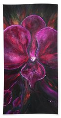 Deep Purple Orchid Beach Towel