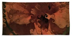 Deep Wine Curlicue Hibiscus Beach Towel