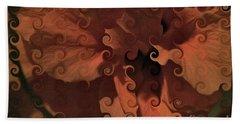 Deep Wine Curlicue Hibiscus Beach Towel