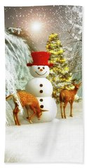 Deer And Snowman Beach Towel